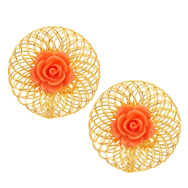 Sukkhi Ritzy Red Rose Gold Plated Earring For Women