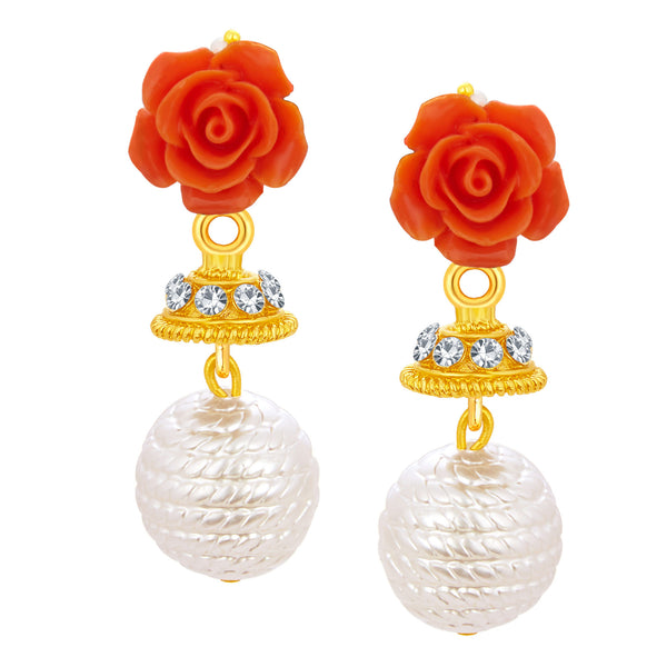 Sukkhi Stunning Red Rose Gold Plated Earring For Women
