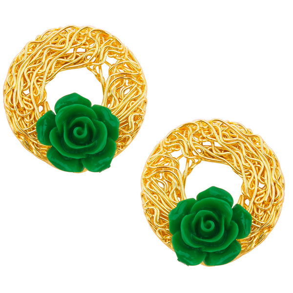 Sukkhi Sublime Green Rose Gold Plated Earring For Women