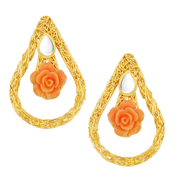 Sukkhi Dazzling Orange Rose Gold Plated Kundan Earring For Women