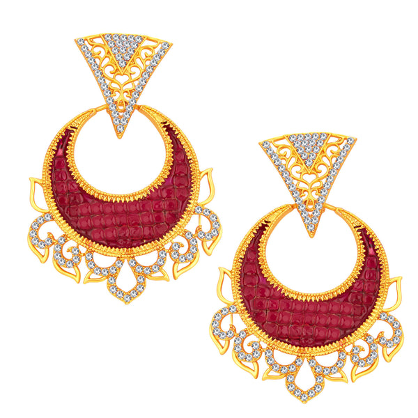 Sukkhi Fashionable Chandbali Gold Plated AD Earring For Women