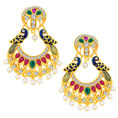Sukkhi Traditionally Peacock Chandbali Gold Plated AD Earring For Women