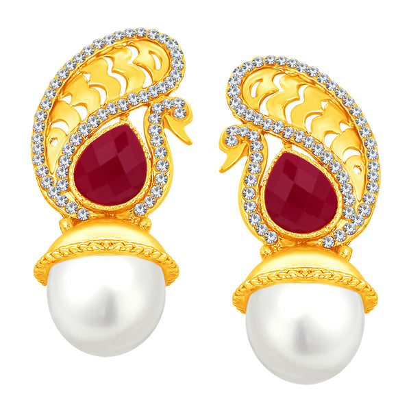 Sukkhi Alluring Peacock Gold Plated AD Earring For Women