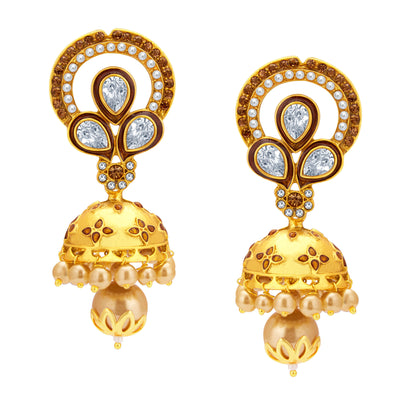 Sukkhi Fashionable Jhumki Gold Plated American Diamond Earring For Women