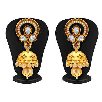 Sukkhi Fashionable Jhumki Gold Plated American Diamond Earring For Women-1