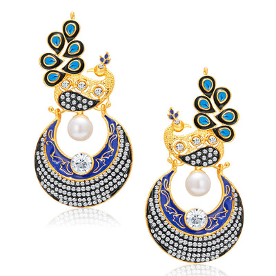 Sukkhi Trendy Peacock Chandbali Gold Plated Earring For Women-2