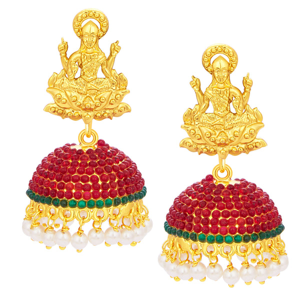 Sukkhi Divine Laxmi Temple Jhumki Gold Plated AD Earring For Women