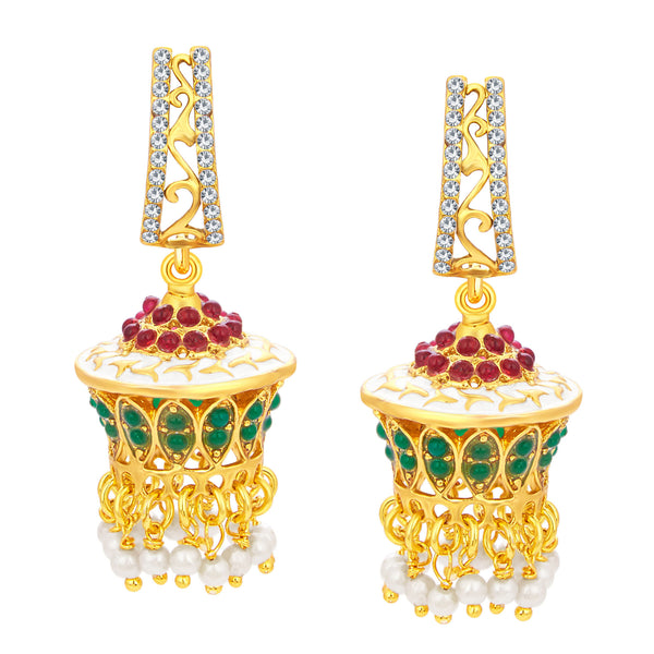 Sukkhi Graceful Jhumki Gold Plated AD Earring For Women