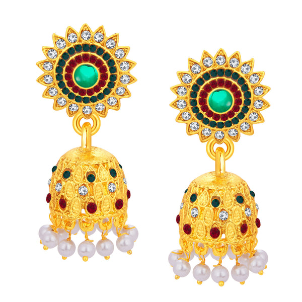 Sukkhi Designer Jhumki Gold Plated AD Earring For Women