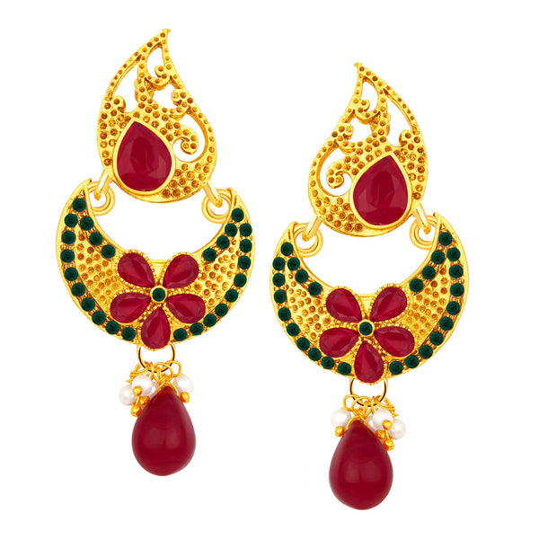 Sukkhi Blossomy Chandbali Gold Plated AD Earring For Women