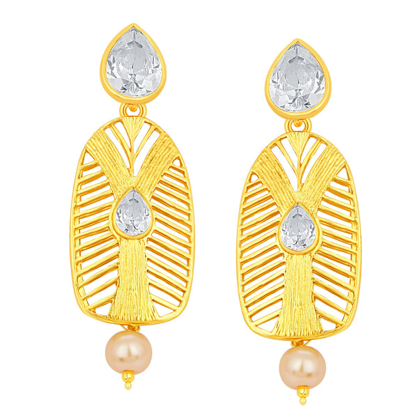 Sukkhi Artistically Gold Plated American Diamond Earring For Women