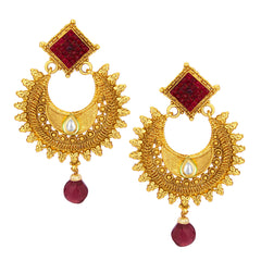 Sukkhi Lavish Invisible Setting Chandbali Gold Plated Earring For Women