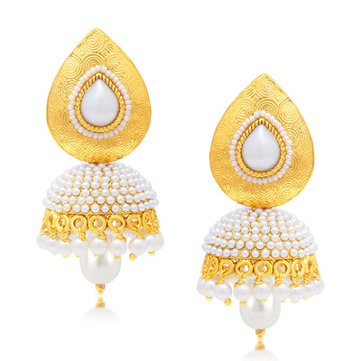 Sukkhi Gleaming Peacock Jhumki Gold Plated Set of 3 Pair Earring Combo For Women-2