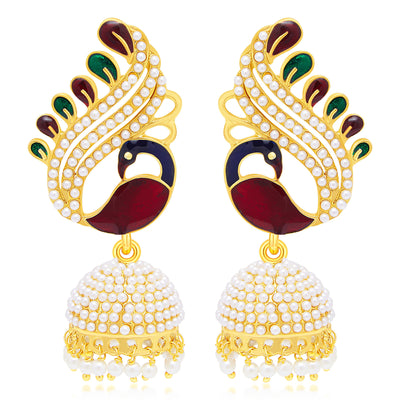 Sukkhi Shimmering Peacock Jhumki Gold Plated Set of 2 Pair Earring Combo For Women-1