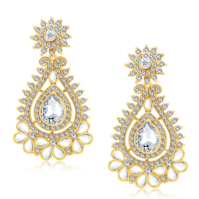 Sukkhi Stunning Gold Plated AD Earring With Mangtikka Set For Women-1