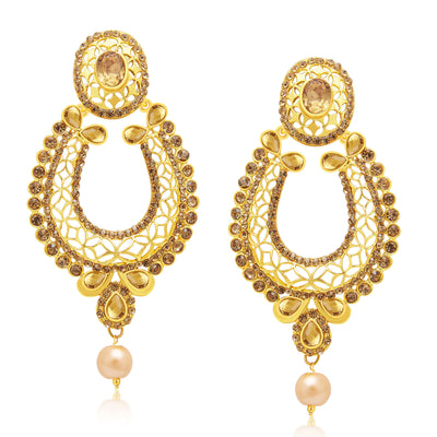 Sukkhi Wavy Gold Plated AD Earring With Mangtikka Set For Women-1
