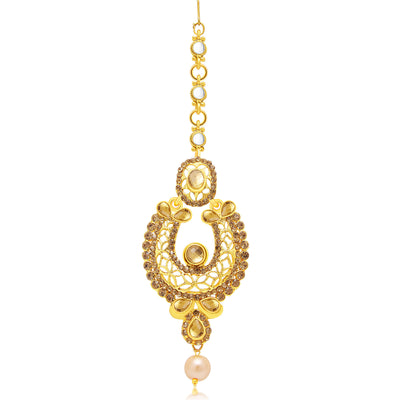 Sukkhi Wavy Gold Plated AD Earring With Mangtikka Set For Women-2
