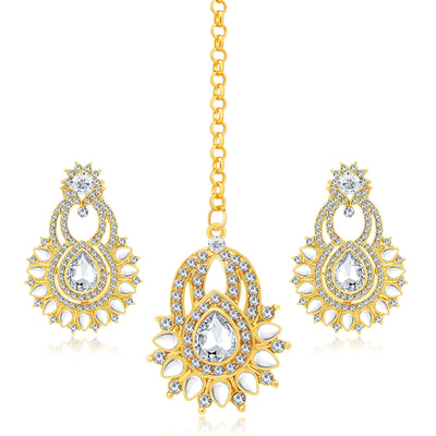 Sukkhi Ethnic Gold Plated AD Earring With Mangtikka Set For Women