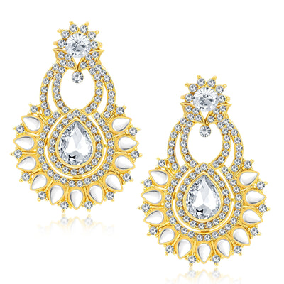 Sukkhi Ethnic Gold Plated AD Earring With Mangtikka Set For Women-1