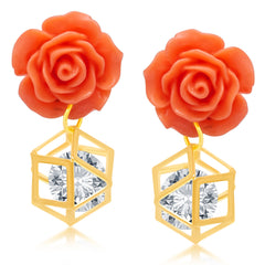 Pissara Classic Gold Plated CZ Earring For Women