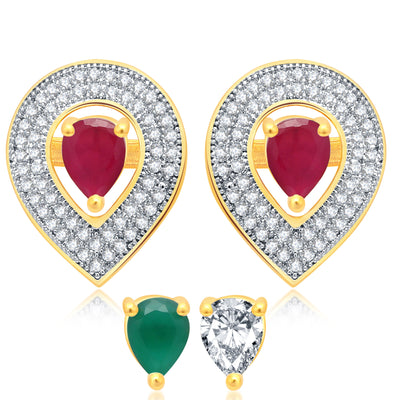 Pissara Ethnic Gold Plated 2 set of Changeable CZ Stone Earring For Women