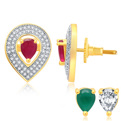 Pissara Ethnic Gold Plated 2 set of Changeable CZ Stone Earring For Women-1