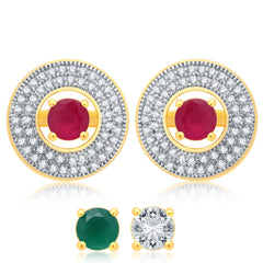 Pissara Charming Gold Plated 2 set of Changeable CZ Stone Earring For Women