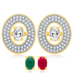 Pissara Glorious Gold Plated 2 set of Changeable CZ Stone Earring For Women