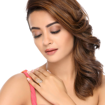 Sukkhi Surveen Chawla Collections Marquise Gold and Rhodium Plated Cubic Zirconia Ring