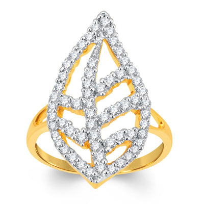 Sukkhi Marquise Gold and Rhodium Plated Cubic Zirconia Ring