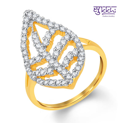Pissara Marquise Gold and Rhodium Plated Cubic Zirconia Ring