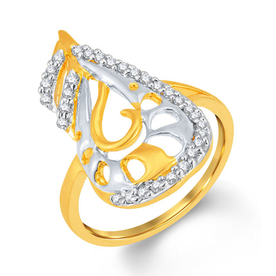 Sukkhi Finely Gold and Rhodium Plated Cubic Zirconia Ring