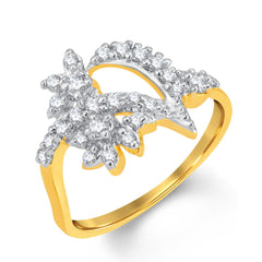 Sukkhi Shimmering Gold and Rhodium Plated Cubic Zirconia Ring