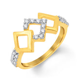 Pissara Stylish Gold & Rhodium Plated CZ Combo With Rose Box For Women Pack Of 4-2