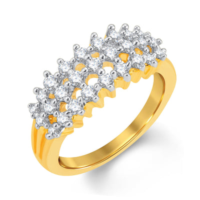 Sukkhi Fine Gold and Rhodium Plated Cubic Zirconia Ring