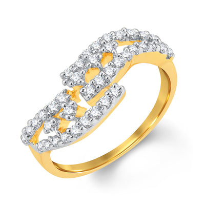 Sukkhi Exquitely Gold and Rhodium Plated Cubic Zirconia Ring