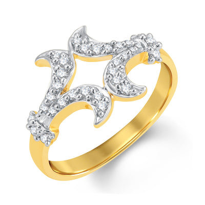 Sukkhi Glittery Gold and Rhodium Plated Cubic Zirconia Ring
