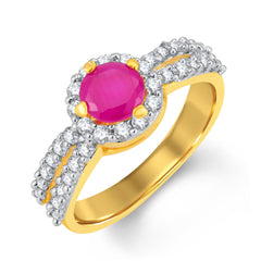 Sukkhi Luxurious Gold and Rhodium Plated CZ and Ruby Studded Ring