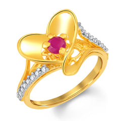 Sukkhi Beguiling Gold and Rhodium Plated CZ and Ruby Studded Ring