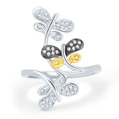 Sukkhi Marvelous Gold and Rhodium Plated CZ Ring-1
