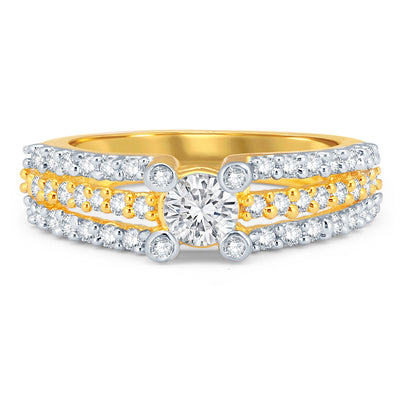 Sukkhi Dazzling Gold and Rhodium Plated CZ Solitaire Ring-1