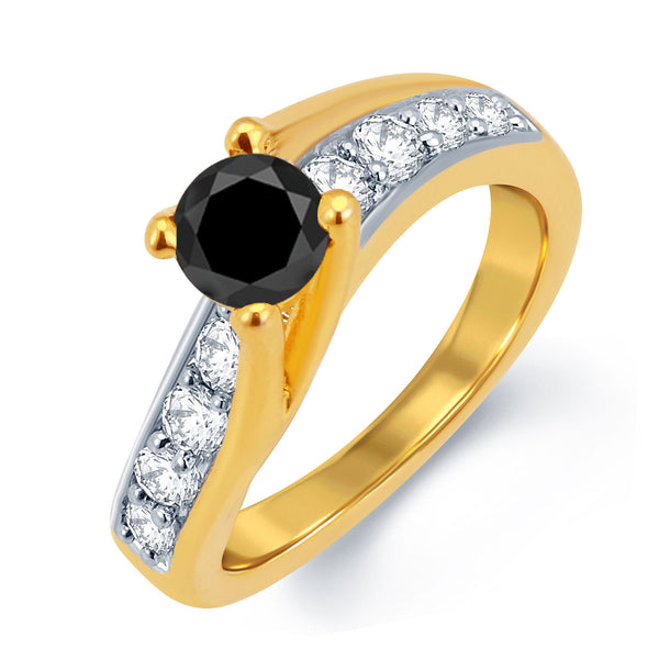 Sukkhi Glamorous Gold and Rhodium Plated Black Solitaire CZ Ring