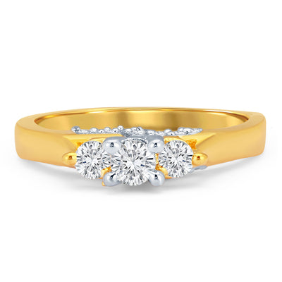 Sukkhi Excellent Gold and Rhodium Plated CZ Solitaire Ring-1
