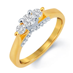 Sukkhi Excellent Gold and Rhodium Plated CZ Solitaire Ring