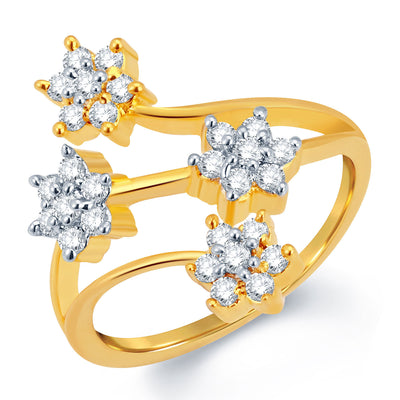 Sukkhi Sparkling Gold and Rhodium Plated CZ Ring