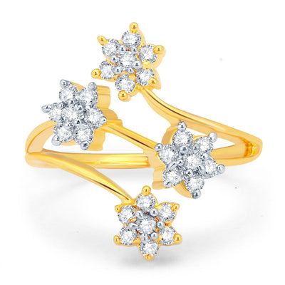 Sukkhi Sparkling Gold and Rhodium Plated CZ Ring-1