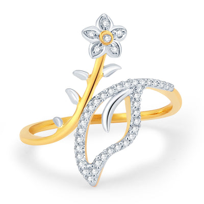 Sukkhi Floral Gold and Rhodium Plated CZ Ring-1