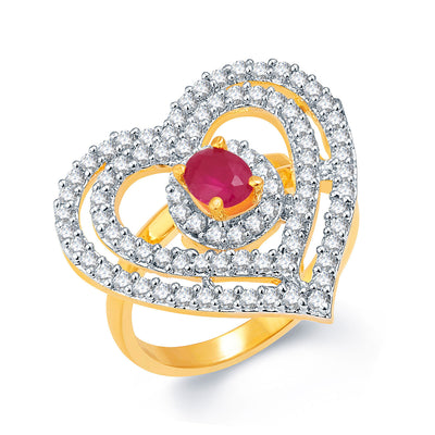 Pissara Sweetheart Gold And Rhodium Plated Ruby CZ Ring For Women