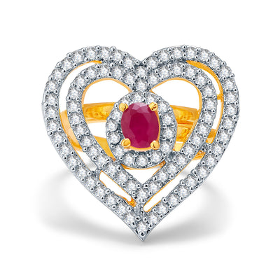 Pissara Sweetheart Gold And Rhodium Plated Ruby CZ Ring For Women-1