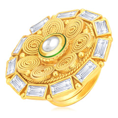Sukkhi Marquise Jalebi Gold Plated American Diamond Finger Ring For Women